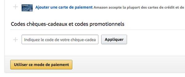 Insérer un code promotionnel sur Amazon