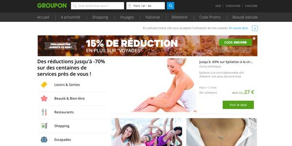 Page accueil Groupon.fr