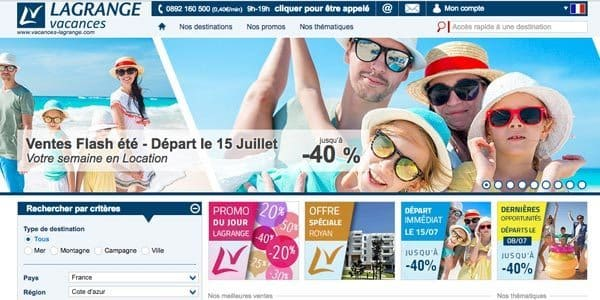 Lagrange vacances, le site internet