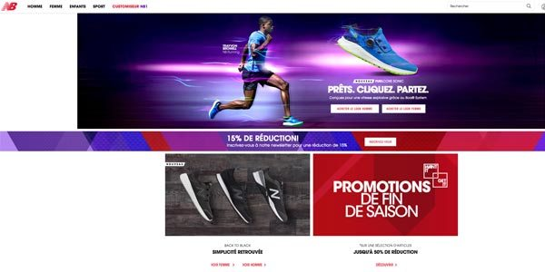 Page accueil New Balance