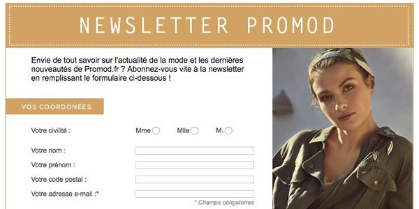 Adhesion newsletter Promod.fr