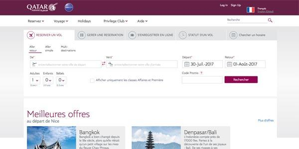 Bienvenue sur le site Qatar Airways