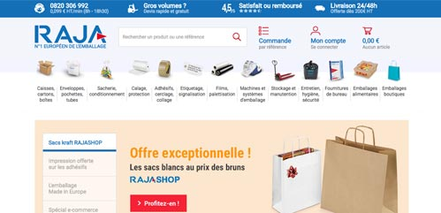Le site internet Raja