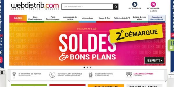 Page d'accueil Webdistrib