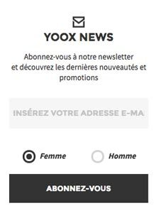 S'inscrire newsletter Yoox