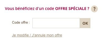 Ajouter son code offre Yves Rocher