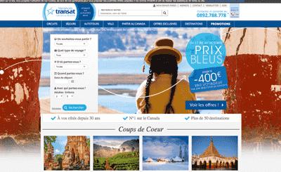 Le site Vacances Transat