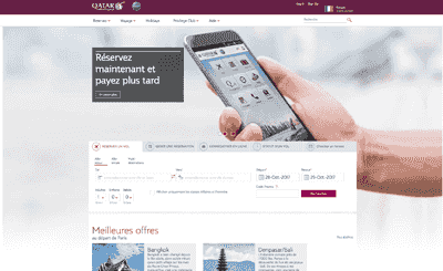 Le site Qatar Airways